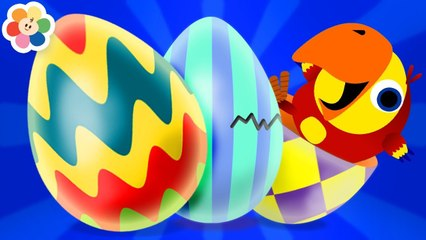 Huevos Sorpresa de Colores | Nuevas Palabras con Larry | Aprender Animales Para Niños | BabyFirst TV