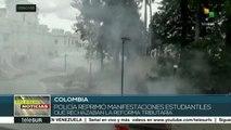 Represión policial contra estudiantes deja 30 heridos en Colombia