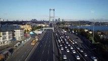 10 Kasım Atatürk Anma günü - 09.05'te 15 Temmuz Şehitler köprüsü - Havadan görüntüler - İSTANBUL