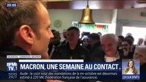 """BFM TV : """"A la vôtre, je paye ma tournée"""" : Emmanuel Macron termine (enfin) sa tournée mémorielle au """"café de la place"""" de Bully-les-Mines"""