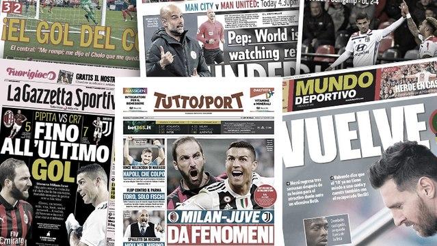 le duel entre CR7 et Higuain fait saliver la presse italienne, le but victorieux de Godin enflamme l'Espagne