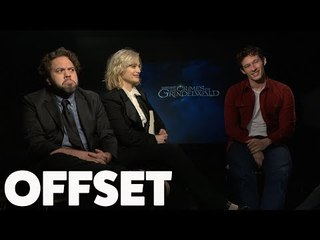 Dan Fogler, Alison Sudol and Callum Turner are shook by the French word for wand!