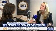 """Carburants: Marion Maréchal dit """"partager l'énervement général"""""""