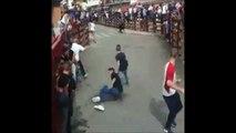 2 jeunes évitent le pire 2 fois d'affilé pendant un lâché de taureaux... Bon karma