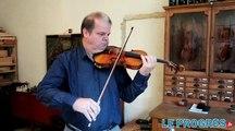 Le violoniste Dominique Lonca essaye son violon, médaille d'or au concours international de Cleveland