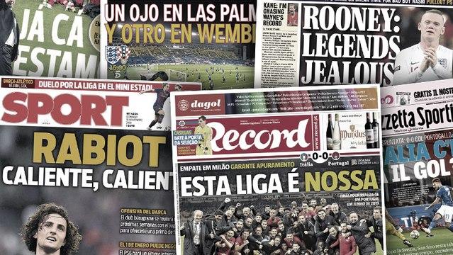 Wayne Rooney détruit les légendes des Three Lions, le Barça toujours très chaud sur Adrien Rabiot