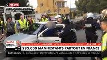 Gilets jaunes : Les images d'une interpellation musclée à Grasse quand on voiture fonce sur des policiers - Vidéo