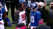JPP hugs Eli Manning, former Giants teammates pregame