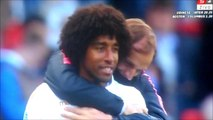 Dante getting consoled by PSG's manager Thomas Tuchel after penalty was awarded for PSG!