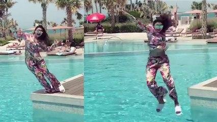 Urvashi Rautela falls down during dance in pool