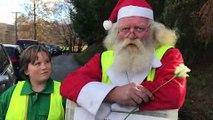 Remiremont : Le Père Noël enfile son gilet jaune et exprime son ras-le-bol devant l'hypermarché Leclerc