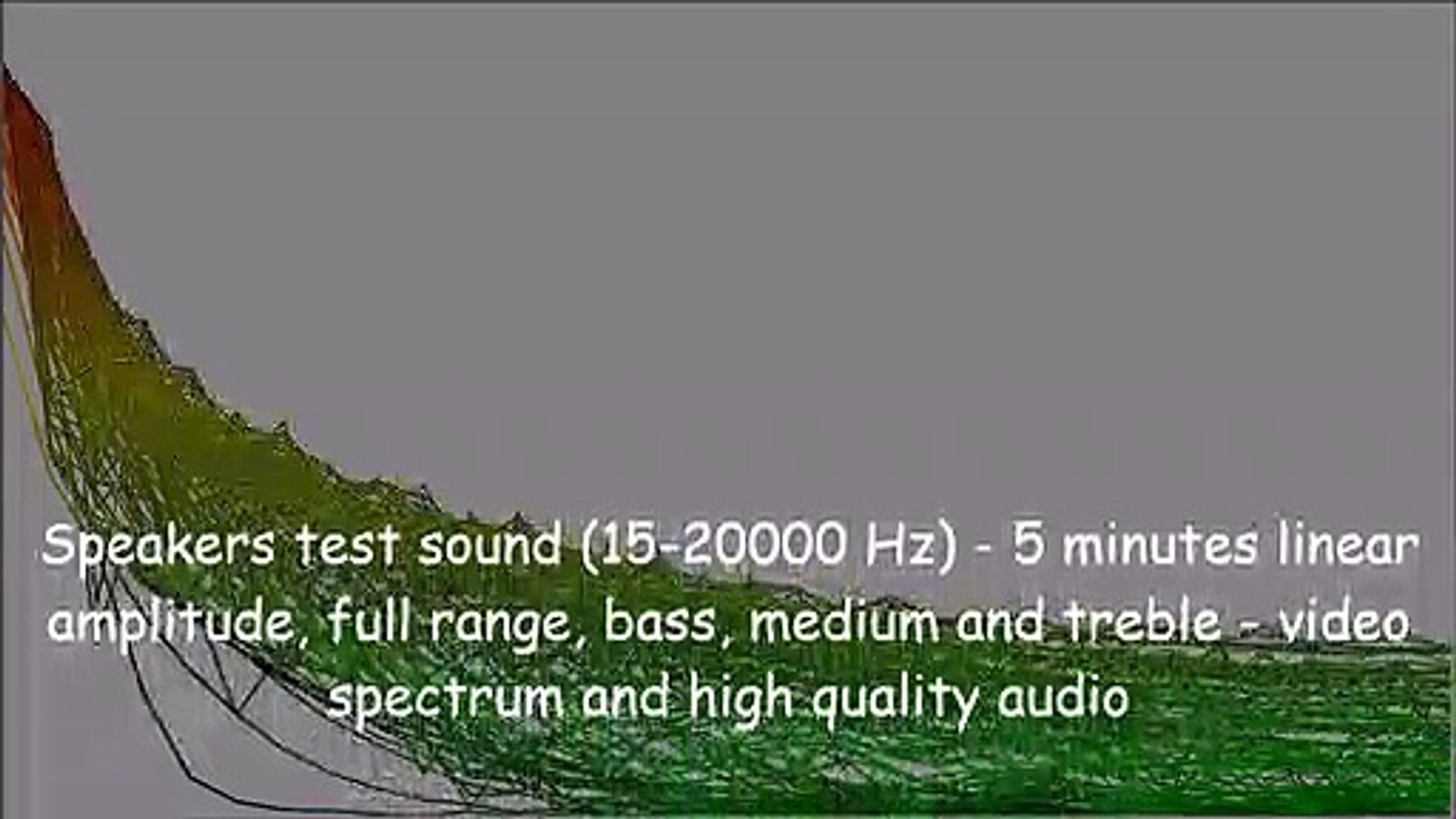 Speakers test sound (15-20000 Hz) - 5 minutes linear amplitude, full range,  bass, medium and treble - video spectrum and high quality audio