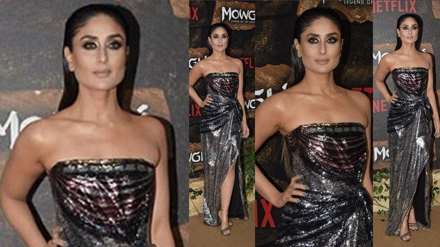 Kareena Kapoor Khan looks hot in sliver gown at red carpet of Mowgli; Watch Video | FilmiBeat