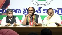 TPCC president  Uttam kumar Reddy and Manda Krishna Madiga, President, MRPS addressing media at Gandhi Bhavan
