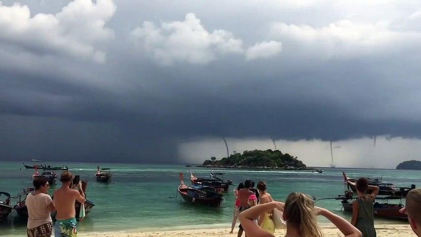 Tailandia : turistas presencian cuatros tornados al mismo tiempo