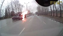 Car and Truck Collide and Erupt into Flames