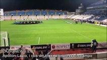 Apollon-Lazio, i cori dei tifosi laziali all'ingresso in campo delle squadre