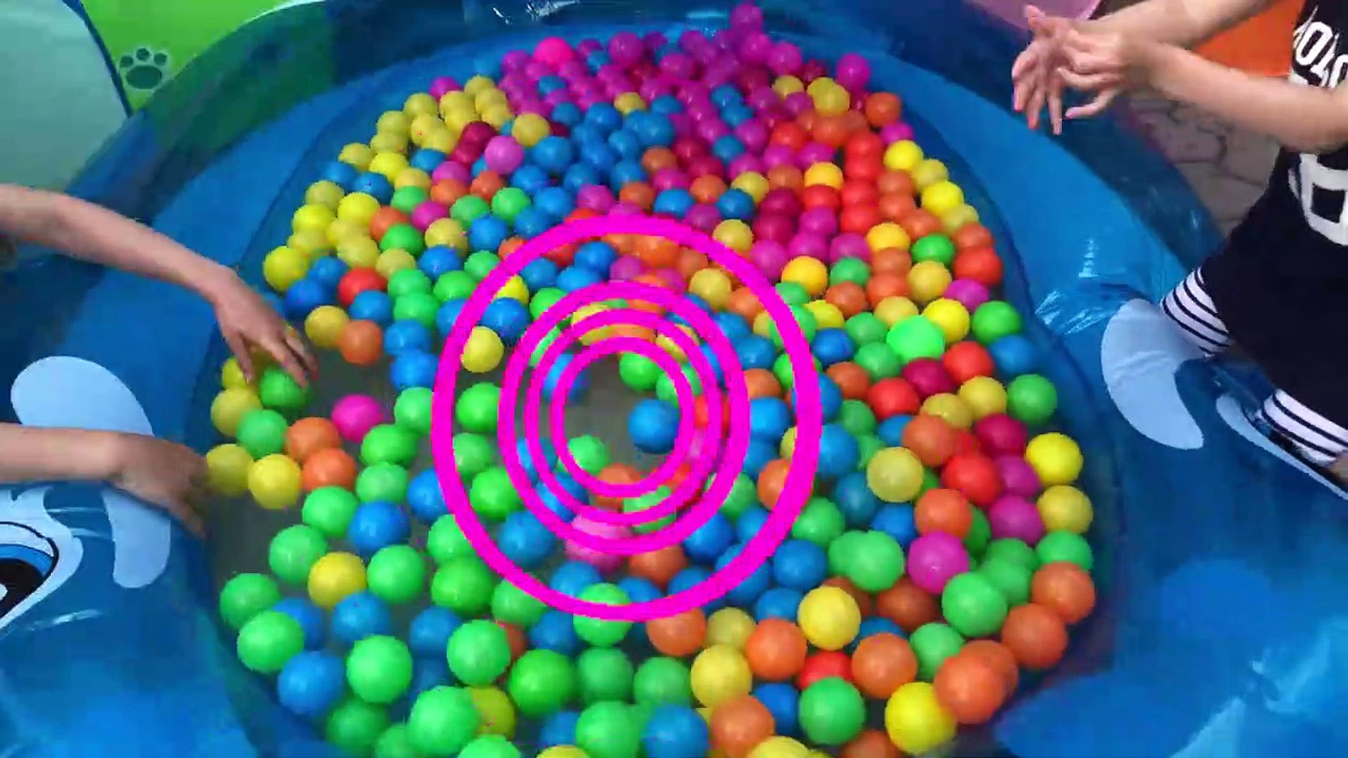 Kids play in the POOL with COLOR BALLS Kids Play Time