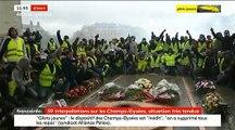 Gilets Jaunes : Regardez un peu avant midi les manifestants assis autour de la flamme du soldat inconnu chantant la Marseillaise