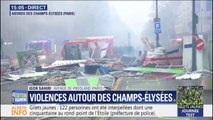 Pavés arrachés, barrières renversées... Les premières images des dégâts aux abords des Champs-Élysées