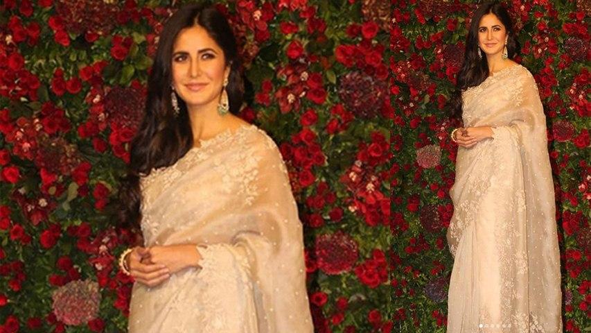 Deepika & Ranveer Reception: Katrina Kaif looks gorgeous in classy Cream Saree | Boldsky