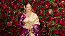 Rekha Enters in Ranveer Singh & Deepika Padukone's GRAND Wedding reception for Bollywood Stars