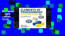 Best product  Elements of Programming Interviews in Python: The Insiders  Guide