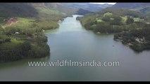 Mattupetty Dam in Idukki Kerala- aerial view of Munnar
