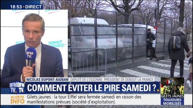 """Gilets jaunes: Nicolas Dupont-Aignan demande de """"ne pas aller aux Champs-Elysées"""""""