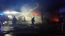 Violent incendie d'un hangar à Châtelet vendredi 7 décembre au soir