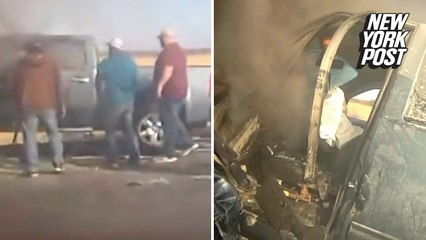 Driver saved from car before vehicle blows up in smoke