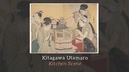 Kitagawa Utamaro - Kitchen Scene