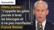 """""""J'appelle les gilets jaunes à lever les blocages et à ne pas manifester"""" (Franck Riester, ministre de la Culture)"""