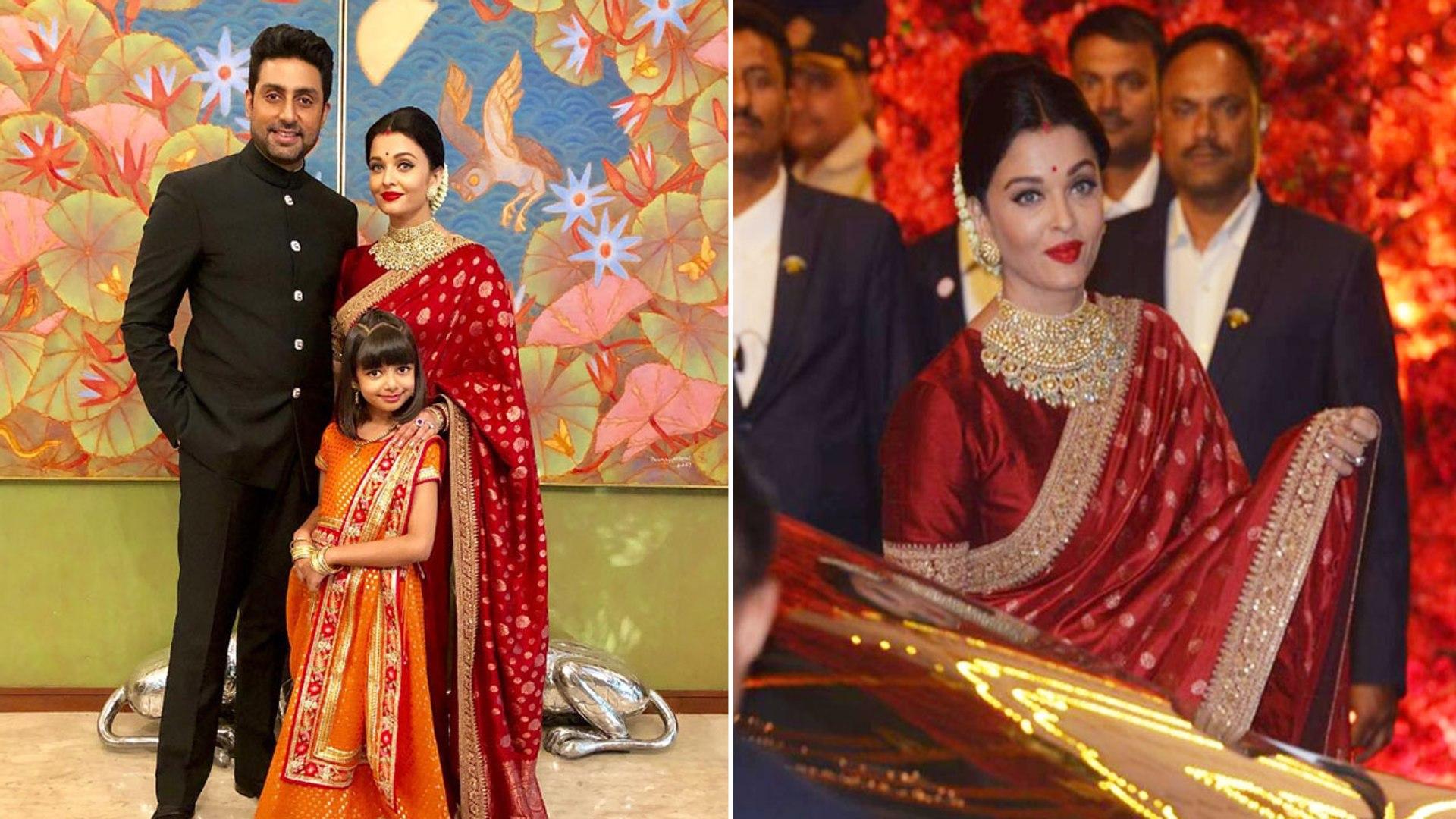 Iswarya Rai Wedding.Isha Ambani Wedding Aishwarya Rai Bachchan Looks Stunning In Red Saree Boldsky