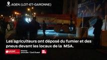 Lot et Garonne : les agriculteurs ont déposé du fumier et des pneus devant les locaux de la MSA