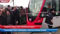İstanbul'da tramvay arıza yaptı: Seferler durdu