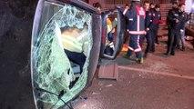 İstanbul- Beyoğlu'nda Kaldırıma Çarpan Araç Takla Attı 1 Yaralı