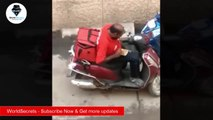 WorldSecrets - Zomato delivery boy eating food meant for delivery, video goes viral
