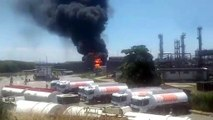 Huge fire breaks out after tanker explodes in Rio