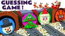 Thomas and Friends Guess the Engine behind Christmas Play Doh Logos Game with a Snowman, Santa Claus, Rudolph the Red Nose Reindeer and Christmas Tree - A fun toy train game for kids and preschool toddlers