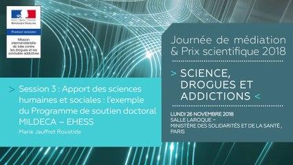 9Journée de médiation et Prix scientifique MILDECA « Science, Drogues et Addictions », 26 novembre 2018. Session 3 « Apport des sciences humaines et sociales : l'exemple du Programme de soutien doctoral MILDECA – EHESS » par Marie Jauffret Roustide