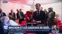 Lors d'une distribution de cadeaux, Emmanuel Macron fait des allusions à l'actualité