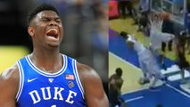 Zion Williamson's Hits His Head on INSANE Block and Twitter LOSES It!