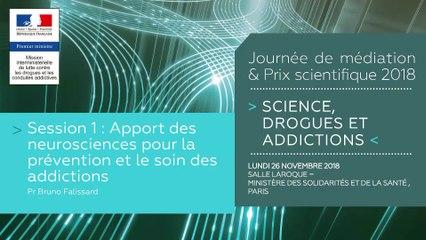 4Journée de médiation et Prix scientifique MILDECA « Science, Drogues et Addictions », 26 novembre 2018. Session 1 « Apport des neurosciences pour la prévention et le soin des addictions » - orateur : Pr Bruno Falissard