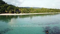Boats in the Andamans Islands of India- aerial view of Andaman Sea