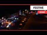 Drone footage shows Britain's most festive street | SWNS TV
