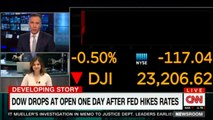 Cristina Alesci speaks on Dow drops at open one day after fed hikes rates. @CristinaAlesci #DowJones #News #CNN
