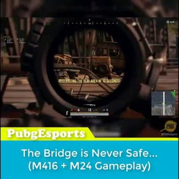 The professional player in the game PUBG watched how the opponent killed on the bridge