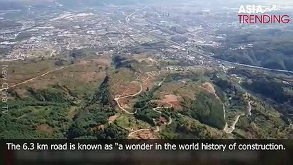 """China's """"most spectacular winding road"""" with 68 turns"""