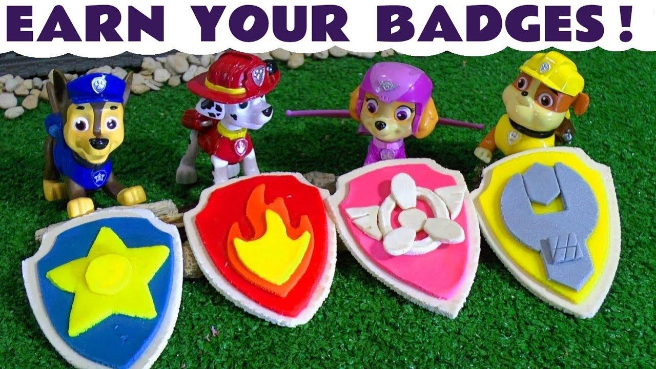 Paw Patrol Earn your badges Play Doh Logos with Surprise Toys inside! Chase, Marshall, Skye and Rubble must all perform a Rescue and help the Accidents with Thomas and Friends – A fun toy story for kids and preschool children